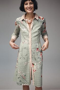 """Anthropologie """"Bloomed Eyelet Shirtdress"""" (198.00) **I simply cannot resist a shirtdress...**"""