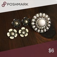Flower Earrings & Cocktail Ring Bundle Two pairs of metal enamel post earrings in black and white with a cute cocktail ring to match. The ring has a stretchy band that fits most fingers. Jewelry Earrings