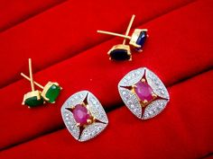 Fashionable SixInOne Changeable Zircon Earrings for Women, Best Anniversary Gift – Buy Indian Fashion Jewellery Pink Earrings, Silver Hoop Earrings, Rose Gold Engagement Ring, Vintage Engagement Rings, Couple Necklaces, Bridal Stores, Fashion Jewellery, Necklace Designs, Indian Fashion