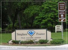 """Situated on the banks of the legendary Suwannee River, this center honors the memory of American composer Stephen Foster, who wrote """"Old Folks at Home,"""" the song that made the river famous. The museum features exhibits about Foster's most famous songs and his music can be heard emanating from the park's 97-bell carillon throughout the day. In Craft Square, visitors can watch demonstrations of quilting, blacksmithing, stained glass making, and other crafts, or visit the gift shop. Suwanee River, Stephen Foster, Old Folks, Blacksmithing, Banks, State Parks, The Fosters, Stained Glass, Quilting"""