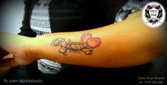 she got her son's name tattoos... proud moment for the mother...