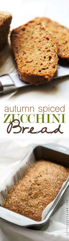 Autumn Spiced Zucchini bread -- made with warm spiced and topped with a crunchy sugar topping. The most delicious loaf you'll make this fall! #zucchinibread #zucchiniloaf #spicedbread | http://Littlespicejar.com