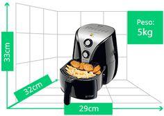 Fritadeira Mondial Air Fryer Premium   Peso: 5kg   Altura: 33cm   Largura: 29cm   Profundidade: 32cm