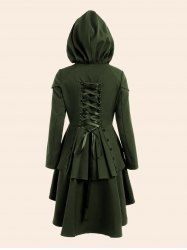 Lace Up Plus Size High Low Hooded Coat - ARMY GREEN