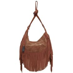 Urban Originals 'Fringed Goddess' Hobo (560 CNY) ❤ liked on Polyvore featuring bags, handbags, shoulder bags, tan, slouchy hobo shoulder bag, slouchy shoulder bag, brown purse, hobo handbags and hobo purse