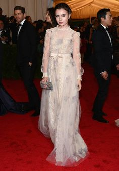 Lily Collins in Valentino at the Met Ball
