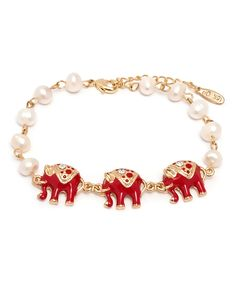 Love this Swarovski® Crystal & Red Elephant Bracelet by Sevil Designs on #zulily! #zulilyfinds