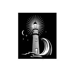 Ocean Lighthouse at Night Wall Vinyl Art