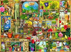 The Garden Cupboard Digital Art by Colin Thompson Illustrator, Best Jigsaw, Puzzle Shop, Country Scenes, Polychromos, Coloring Book Pages, Cute Illustration, Cute Pictures, Fantasy Art