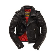 Premium Leather Biker Jacket ($550) ❤ liked on Polyvore featuring outerwear, jackets, mens jackets, genuine leather jackets, superdry jacket, rider leather jacket, real leather jackets and leather motorcycle jacket