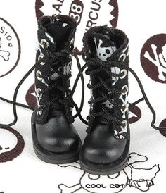 ☆╮Cool Cat╭☆【13-02】Blythe Pullip Doll Shoes Boots # Skeleton Black