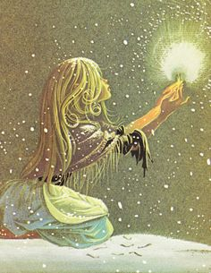 The Little Match Girl - Vintage Illustration Fairy Tale Book Print -