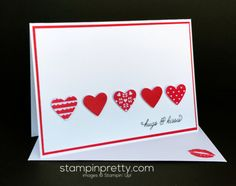 Sending Love Stamp Set & Love Notes Framelits Dies valentine card.  Mary Fish, Stampin' Up! Demonstrator.  1000+ StampinUp & SUO card ideas.  Read more https://stampinpretty.com/2017/01/hugs-kisses-for-valentines-day.html Mary Fish, Valentines Day Cards Diy, Homemade Valentine Cards, Valentine Greeting Cards, Valentines Greetings, Making Greeting Cards, Valentine Ideas, Valentine's Day Handmade Cards, Handmade Greetings