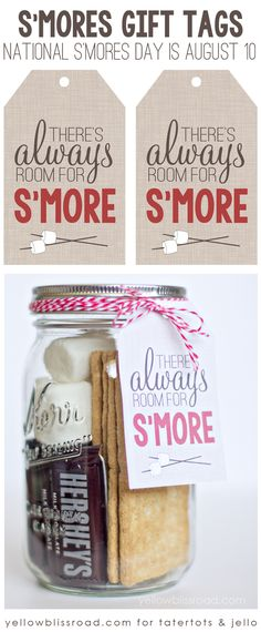 "Delicious S'Mores Recipes ""There's Always Room for S'More"" free printable graphic. Perfect for National S'Mores Day August Always Room for S'More"" free printable graphic. Perfect for National S'Mores Day August Food Gifts, Craft Gifts, Diy Gifts, Mason Jar Gifts, Mason Jars, Diy Christmas Gifts, Holiday Gifts, Santa Gifts, Summer Hostess Gifts"