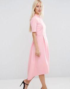 ASOS | ASOS Midi Bonded Dress with Full Skirt and Dipped Hem at ASOS 74