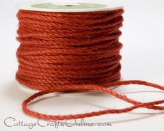 "Orange burlap jute cord, approximately 1/8"" diameter by May Arts Ribbon. Good for all kinds of crafts, decor and packaging. Available from the Cottage Crafts Online shop on Etsy."