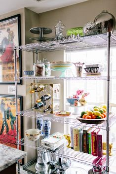 Styling Wire Shelves in the KitchenLife with a Dash of Whimsy Small Apartment Kitchen, Home Decor Kitchen, Home Kitchens, Kitchen Design, Small Kitchen Appliances, Kitchen Shelves, Kitchen Storage, Kitchen Organization, Open Plan Kitchen