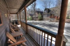 Sasquatch Ridge Pigeon Forge vacation rental cabin is located in Brookstone Village. See the middle cabin across the street? That's Bigfoot Crossing. You can rent both cabins for a wedding or family reunion and sleep up to 30 people!