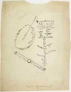 La Mandoline, l'œillet et le Bambou: calligramme de la série Etendards 1914-15 Guillaume Apollinaire