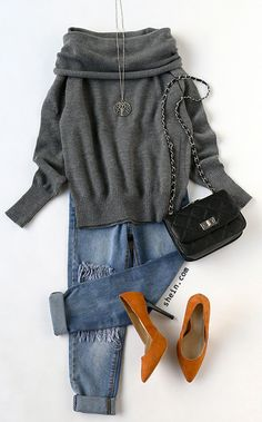 Cozy fall fashion-Grey convertible neck knitted T-shirt outfit.