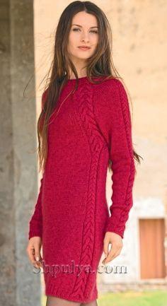 Платье с рельефными «косами» спицами