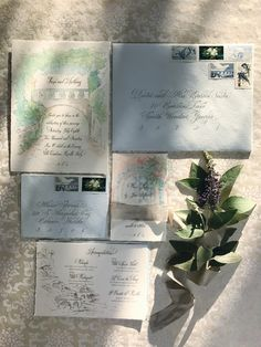 Villa Cimbrone, on the Amalfi Coast is the destination for this hand painted wedding invitation by Paper Melange