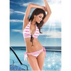 Sexy Pink Stripes Halter Bikini Set | swim wear | womens beach wear | Sexy Lingerie | Buy online on Sexpiration.com India