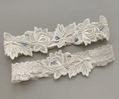 """Lace Wedding Garter SET with Blue Pearls, Something Blue Bridal Garter Set, Beaded Garter, Lace Garter Belt, Garters - """"Brynn"""" Wedding Garter Lace, Wedding Veils, Wedding Dress, Blue Pearl, Blue Ivory, Something Blue Bridal, Blue Garter, Wedding Hair Accessories, Turquoise Weddings"""
