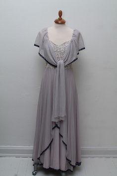 Rosa silketyl vintage kjole 1930, S