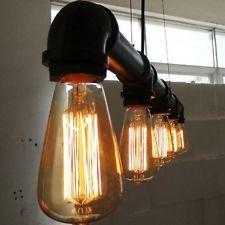 Industrial Vintage Luces De Techo Candelabro De Metal Pipa Retro Loft Colgante Lámparas