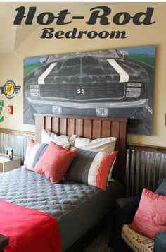 Hot Rod Bedroom, Camao painting, neutral palette, corrugated metal wall treatment. Theraggedwren.blogspot.com