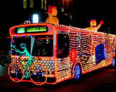 Bus covered with Christmas lights Christmas Light Displays, Holiday Lights, Christmas Lights, Christmas Decorations, Holiday Decor, Holiday Rv, Winter Holiday, All Things Christmas, Christmas Holidays