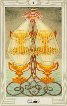 """Luxury - Tarot Thoth by Aleister Crowley. The 4 of Cups is a card about wishful thinking. It warns us to remember to pay attention to what """"is"""" now, and the many blessings we each currently experience, and not to worry too much about """"what could be."""" It is all too easy to overlook what we already have in the pursuit of what we don't have."""