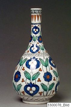 Object Bottle Material Glazed pottery Provenance - Origin Turkey Period Ottoman, 1899 A.D.