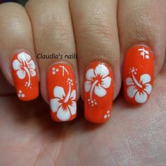 Dream of paradise with this summer-inspired nail art with free-hand hibiscus flower details. DIY wit Dream of paradise with this summer-inspired nail art with free-hand hibiscus flower details. DIY with this how-to and the nail essentials listed…. Beach Nail Designs, Flower Nail Designs, Nail Art Designs, Nails Design, Tropical Nail Designs, Nails With Flower Design, Coral Nail Designs, Salon Design, Design Design