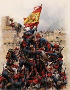 """Orgull"""" la toma de Tetuán en donde los voluntarios catalanes a las órdenes del General Prim fueron los primeros en izar la bandera de España Temas Militares, Imágenes Militares, Fuerzas Armadas, Uniforme Ejercito Español, Ejercito España, Historia De Heroes, Augusto Ferrer Dalmau, Uniformes Militares Españoles, La Legion Española"""