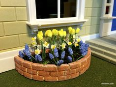 miniature half circle flowerbeds tutorial using foam boards from the dollar store