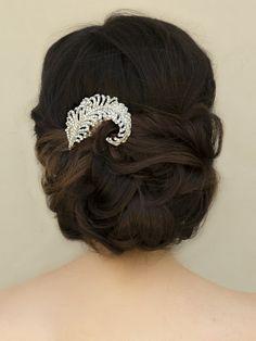 "Hair Comes the Bride - Vintage Rhinestone Leaf Bridal Hair Comb ~ ""Jodie"" in Silver, $62.00 (http://www.haircomesthebride.com/vintage-rhinestone-leaf-bridal-hair-comb-jodie-in-silver/)"