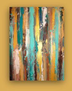 "Large Acrylic Abstract Original Painting Title: Patina 2 30x40x1.5"" by Ora Birenbaum. $375.00, via Etsy."