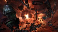 """In-game screenshot of """"Ornoth Rift"""", the third stage in Galaxy on Fire - Manticore RISING on the new Apple TV."""