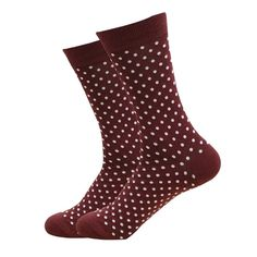 Our Brown and White Polka Dot Socks in brown is the new trend from the past, and you better not miss the golden (well maroon) chance of a blast from the past. Made with Cotton, Nylon, and Spandex, these Unisex socks are perfect for US Size feet. Polka Dot Socks, Polka Dots, Funky Socks For Men, Shark Socks, Brown Socks, Groomsmen Socks, Sock Shop, Crazy Socks, Happy Socks