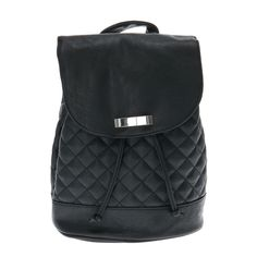 Black Quilted Faux Leather Bucket Backpack