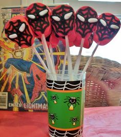 Spiderman Marshmallow Pops