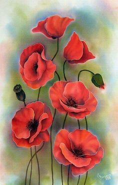 beautiful watercolor painting of red poppies by - Blumen Silk Painting, Painting & Drawing, Poppies Painting, Watercolor Flowers, Watercolor Paintings, Watercolors, Red Poppies, Poppy Flowers, Poppies Art