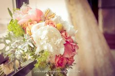 Bridal Bouquet - Dusty Miller - Coral - Yellow - Ivory Peonies - Knoxville TN Wedding - Industrial - lace - Navy Blue - Elegant - Elegance - Sophisticated Wedding - Lisa Foster Floral Design  www.lisafosterdesign.com