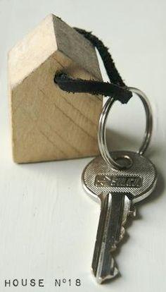 Keychain wooden house