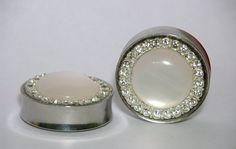 ...if only they had my size...  Diamond Wedding Plugs 1 1/8 1 1/4 1 5/16 1 3/8 by arksendeavors, $50.00