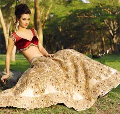 red velvet blouse with a gold and cream lengha - blouse design; outfit; #hair