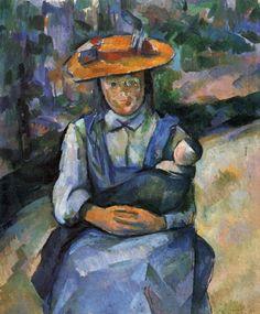 Paul Cézanne.  Mädchen mit Puppe. 1902-1904, Öl auf Leinwand, 73 × 60 cm. Privatsammlung. Frankreich. Postimpressionismus.  KO 01126