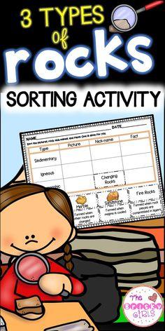 3 Types of Rocks Sort First Grade Activities, Sorting Activities, Kindergarten Activities, Science Activities, Classroom Activities, Science Lessons, Grade 3 Science, Elementary Science, Earth Science